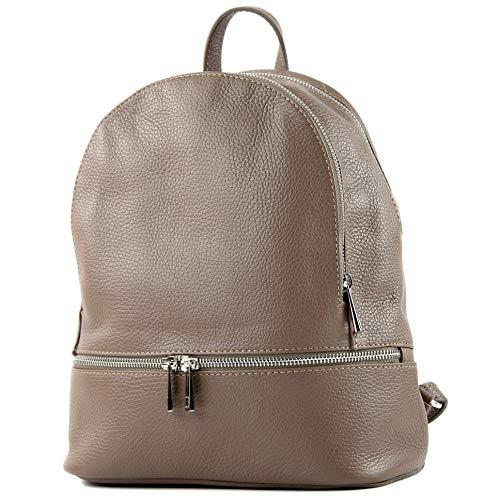 modamoda de - T137 Leder - ital Damen Rucksack Leder oder Nappaleder, Farbe:T137Leder-Schokoladenbraun