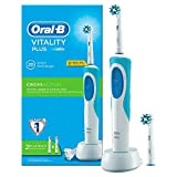 Oral-B Vitality CrossAction - Cepillo de dientes eléctrico recargable y 2 recambios, batería, temporizador, color blanco y azul