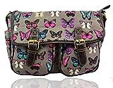 LeahWard® Damen Mode Satchel Taschen Kid's Damen Qualität Segeltuch Eule Schmetterling Blume Drucken Umhängetasche Handtasche CWC6072 (CWC6072-B-Grau)