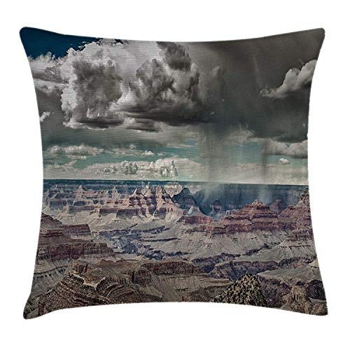 Farmhouse Decor Throw Pillow Cushion Cover, Cumulus Clouds on Grand Canyon Valley with Hazy Beams Idyllic Nature Image, Decorative Square Accent Pillow Case, 18 X 18 Inches, White Brown