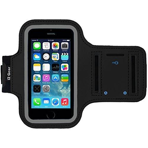 I2 Gear iPhone 5/5 s / 5C Se Laufen & Übung Armband mit Schlüsselhalter & reflektierendes Band (iPhone 5/5S/5C SE, Tiefschwarz) - Otter 5s Case Ipod Box