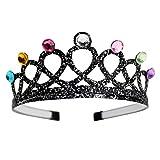 Trendwert Prinzessin Geburtstag-Krone Diadem für Kinder Erwachsene Mädchen in Schwarz oder Gold Haar-Schmuck-Kostüm-Zubehör Junggesellinnenabschied Hochzeit Fasching Karneval Halloween (Schwarz)
