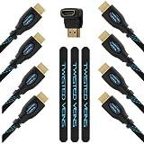 """TWISTED VEINS 3ACHB10 """"Receiver pack"""": Pacchetto per Ricevitori Multipli (Comprende Tre Cavi HDMI da cm 90 e Un Cavo HDMI da m 3) per Connessioni ad Alta Velocità; con Attacco a Gomito a 90⁰ e Legacci VELCRO per i Cavi (Ultimo Standard 1.4, Offre Ethernet, 3D, e Canale Audio di Ritorno)"""