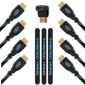 Twisted Veins 3ACHB10 Pack de 4 Câbles (trois de 90cm et un 3 m) Nouvelles Normes Compatibles Avec Ethernet, Retour Audio, 1080P, 3D, 4K, Ultra HD, Haut Débit, etc., Inclut Adaptateur Coude Angle Droit A 90 Degrés et Trois Attaches en Velcro