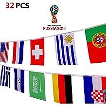 2018 FIFA Coppa del Mondo 32 Squadre Bandiera 32 Ft /7.9x11 in / 20x28 cm Decorazione per Club Sportivi,Bar,Grandi Gagliardetti