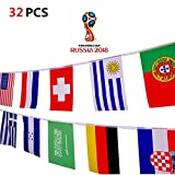 World National Flaggen Banner 32 International Länder Aufhängen String Flaggen [14x21 cm] für 2018 WORLD CUP