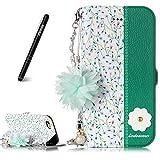 Slynmax Coque iPhone 6 Plus/6s Plus,Housse Cuir des Fleurs des chaînes, Orchidées...