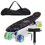 Feldus 22' Retro Skateboard Komplett Fertig Montiert mit Tasche und T-Tool (Deck LED Schwarz/ LED Räder in 4 Farben)
