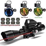 IRON JIA'S Spike Lunettes de visée airsoft Fusil tactique 4-12X50EG Portée avec arme Combo Holographic 4 réticule Sight & Red Laser Sight Chasse