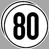 2 Stück 20cm Aufkleber Sticker 80 km/h kmh Geschwindigkeit Auto Pkw Bus Lkw Anhänger Schild