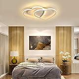 Lámpara de techo LED moderna sala de estar regulable diseño de café blanco lámpara de techo en forma de corazón iluminación dormitorio iluminación decoración de interiores,63 * 45cm/warmlight