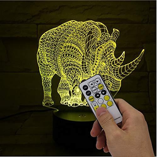 Rhino Usb Led Kinder Schreibtischlampe Acryl Usb Weihnachtsgeschenk 3d Leuchten Neuheit 7 Farbwechsel Led Nachtlicht