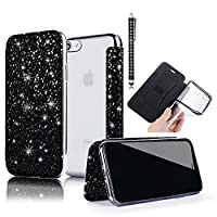 iPhone 6S Case, iPhone 6 Wallet Case,Vandot Premium 3D Flakes Bling Glitter Cover Flip Stand PU Leather Case [Clear Back] Shockproof TPU Bumper Plating Chrome Drop Protection Cover For iPhone 6S / iPhone 6 4.7 inch-BLACK + Diamond Stylus Touch Pen