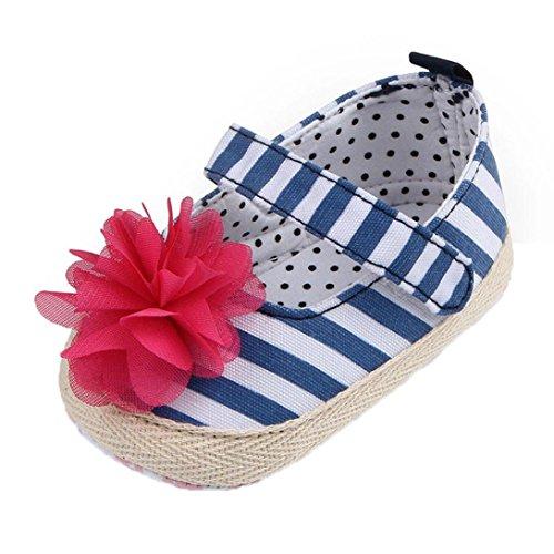 Babyschuhe Longra Baby Mädchen Krabbelschuhe Blumen punktierte Streifen Aufkleber Erlernen Sie Schuhe Säuglingssohle Lauflernschuhe (0 ~ 18 Monate) Blue
