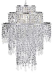 Waneway Large 3 Tiers Chrome Sparkling Beads Pendant Shade, Ceiling Chandelier Lampshade with Acrylic Jewel Droplets, Lamp Shade with Chrome Frame and Sparkling Beads, Diameter 32 cm, Chrome