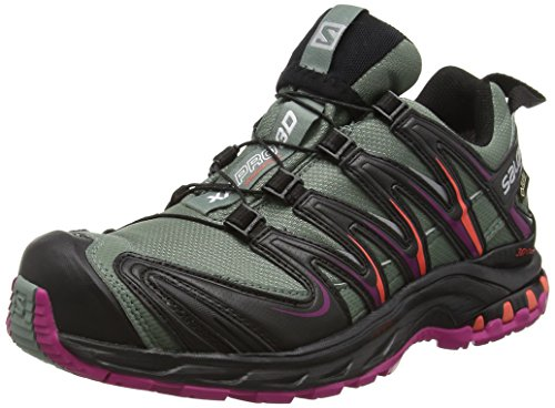 Salomon XA PRO 3D GTX, Chaussures de trail femmes, Gris (Light Titan/Black/Coral Punch), 38 EU