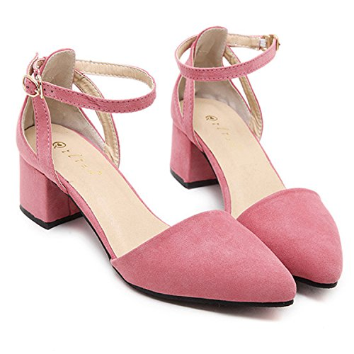 Oasap Square heel pointed toe suede leather women heels pink