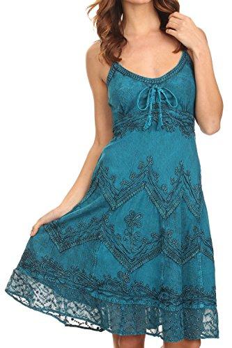 Sakkas 4031 Stonewashed Rayon verstellbares Kleid - Türkisblau -