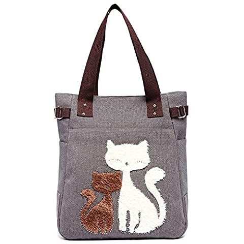 Casual Canvas Tote Bag Vintage Elegant Shoulder Bags Large Portable Shopping Bags with Clever Cats Design Gray by