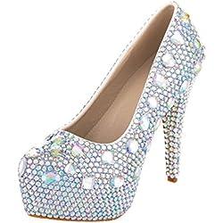 VELCANS Mode Strass Hochzeit und Abschlussball 14 CM High Heels für Braut, Brautjungfern Damen Pumps Schuhe (39.5, Mehrfarbig Und High Heels 14CM)