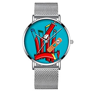 Minimalist Fashion Quartz Wrist Watch Elite Ultra Thin Waterproof Sports Watch with Date with Mesh Band 025.Phlebotomist Watch Artsy Blood Tubes