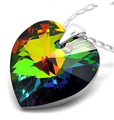 Damen-Halskette mit Herz-Anhänger Sterling-Silber 925 mehrfarbiger Swarovski Elements Kristall Grün / Gelb / Rot / Magenta / Blau 46°cm -