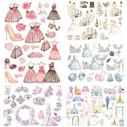 Lazeny 6 Blatt Prom Kleid Aufkleber Kinder Mädchen Sticker DIY Scrapbooking Tagebuch Fotoalbum Notizbuch Deko Fertigkeit Papier Stickerbögen für Freunde und Klassenkameraden Geschenke