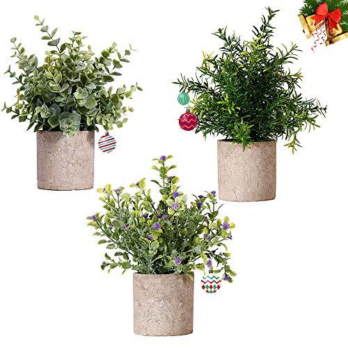 NEWROAD Künstliche Pflanzen Blume 3 Stück Eukalyptus Rosmarin Babysbreath Simulation Grüne Bonsai für Home Office Hochzeitsdekoration (3 Stücke)