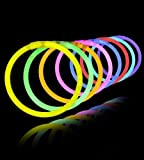 Jiada Glow Sticks Bands - Premium Lumistick Bracelets - 50 Pcs Set Assorted Colours