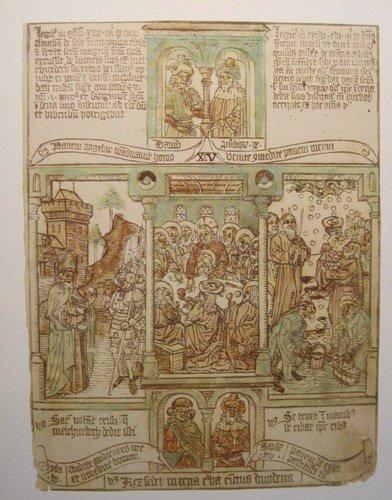 BIBLIA PAUPERUM (Armenbibel) 15. Jhdt. (18) - Reproduktion eines Blattes der in Esztergom, Ungarn...