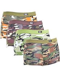 Vertvie Homme Lot de 4 Boxer Imprimé Camouflage Sous-vêtement Coton Mélangé Culotte Stretch Taille Élastique Doux Respirant