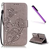 EMAXELERS LG Magna Coque Etui de Protection Bling Glitter Papillon PU Cuir Portefeuille Coque Housse Swag Coquille Couverture avec Fonction Stand pour LG Magna H502,Gray Butterfly with Diamond