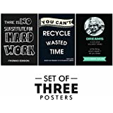 Printelligent Motivational Posters For Office And Study Room - Set Of 3 |Inspirational Wall Quotes | Size 12 X 18 Inch | Wall Art | New Year Gift | Home Décor | Perfect Gift Item | Room Stickers
