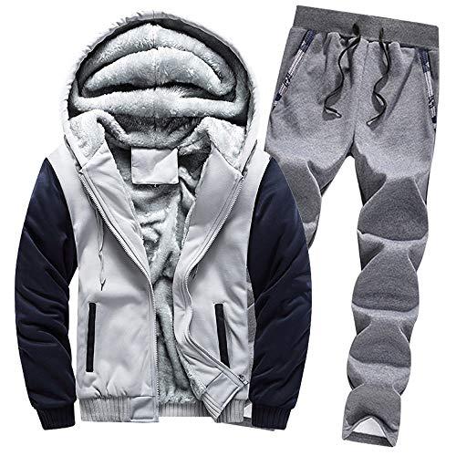 Aiserkly Herren Jogginganzug, Trainingsanzug, Sportanzug, Freizeitanzug, Hausanzug, Winter Verdicken Sporthose+Hoodie Zwei-Teilig Streetwear X-C-Grau XL