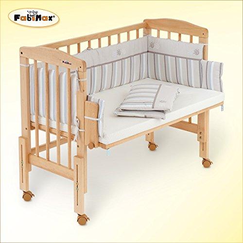 FabiMax Beistellbett PRO mit Matratze COMFORT und Nestchen Emily beige - Emily Baby Möbel