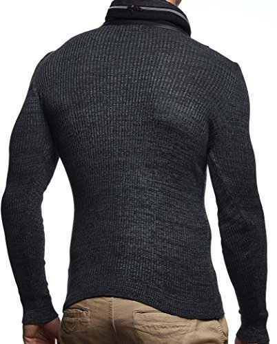 LEIF NELSON Herren Pullover Strickpullover Hoodie Basic Schalkragen Sweatshirt longsleeve langarm Sweater Feinstrick LN1640 Schwarz-Anthrazit