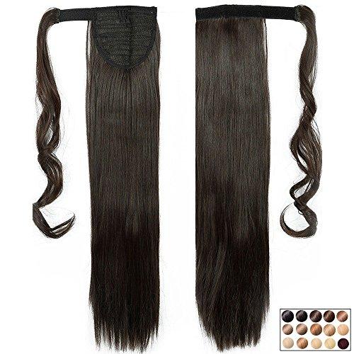 """Pferdeschwanz Haarteil Dunkelbraun Clip in Extensions Glatt Ponytail Extensions günstig Haarverlängerung 23""""(58cm)-120g"""