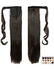 """23"""" Queue de Cheval Postiche Extension de Cheveux Lisse - Wrap Around Ponytail Clip in Hair Extensions - Marron Foncé (58cm-120g)"""