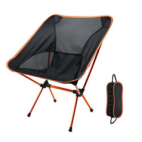 Tragbarer Camping Stühle, Yocuby Outdoor Ultralight Klappstuhl mit Tragetasche für Wandern, Angeln, Strand (Orange)
