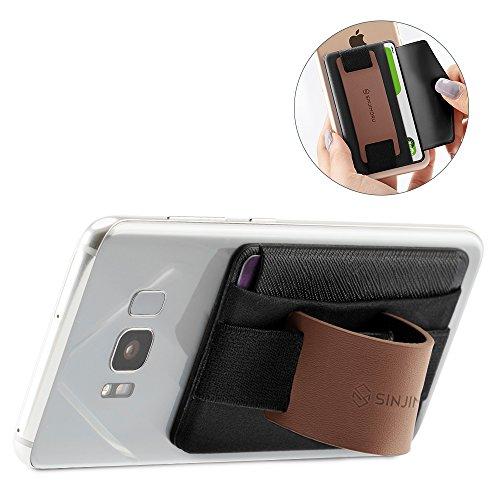 Sinjimoru Fingerhalterung und Handy Ständer mit Kartenhalter/Smartphone Kartenetui, Handygriff und aufklebbare Geldbörse in Einem, Smart Wallet für iPhone und Android. Sinji Pouch B-Grip, Braun.