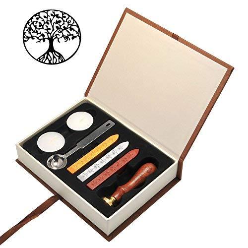Mogoko Sigillo + 3*Ceralacca + Cera + Cera Stick Spoon Francobolli Vintage Kit per Lettera Personalizzata Timbri Personali IL MIGLIORE REGALO SET - Albero della Vita