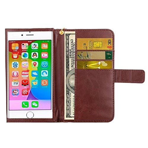 wkae Schutzhülle Case & Cover 12,7cm Universal Crazy Horse Textur tragen Fällen mit Touchscreen & Kette & CardSlots für iPhone 6& 6S/6S/5/5S/5C/Sony Xperia E4/M4Aqua braun