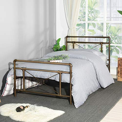 Aingoo Traditional Antique Pipe Shaped Single Bed Frame 3ft Metal Bed for Adults Kids Children Fits for 90 * 190 CM Mattress Antique Bronze