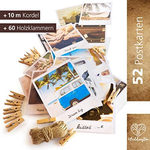WeddingTree 52 Postkarten Hochzeit Vintage inklusive 10m Schnur und 60 Klammern- Postkarten Set 9x11 cm - für 52 Wochen