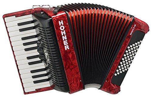 Hohner Bravo III 48 Akkordeon rot (Pianoakkordeon, 48-Bässe, 2-Chöre, 2 Register, inkl. Trageriemen, Gigbag Tasche)