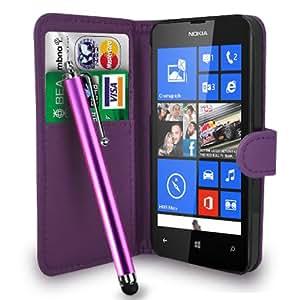Nokia Lumia 520 Dark Purple Leather Wallet Flip Case Cover Pouch + Free Screen Protector & Touch Stylus Pen - Dark Purple