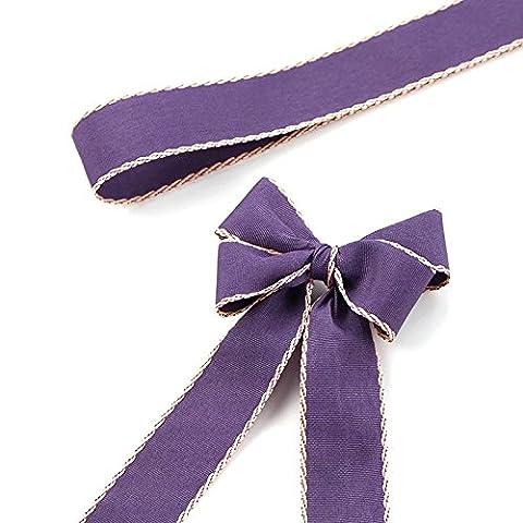 Ponatia 2,8cm (2.8cm) ruban de satin double face 22,9m, cheveux Bow Clips et accessoires qui, mariage, Décor, Baby Shower, décoration, cadeaux, fabrication de cartes, projets Floral violet foncé
