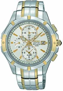 Seiko Men's Quartz Watch with White Dial Analogue Display and Silver Stainless Steel Bracelet SNAE74P1