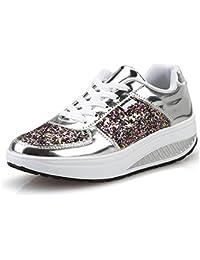 QZBAOSHU Donne Sneaker Dimagrante Scarpe Passeggio   Scarpe Ginnastica  Fitness Cunei Piattaforma Scarpe 7a8d037b533