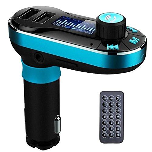 SEGURO Bluetooth FM Transmitter KFZ Auto Radio Adapter freisprecheinrichtung Car Kit integriertem mit 2 USB Ladegerät 3.5 mm AUX TF-Karten-Slot für iPhone Samsung iPad HTC Usw (Tape-adapter Bluetooth)